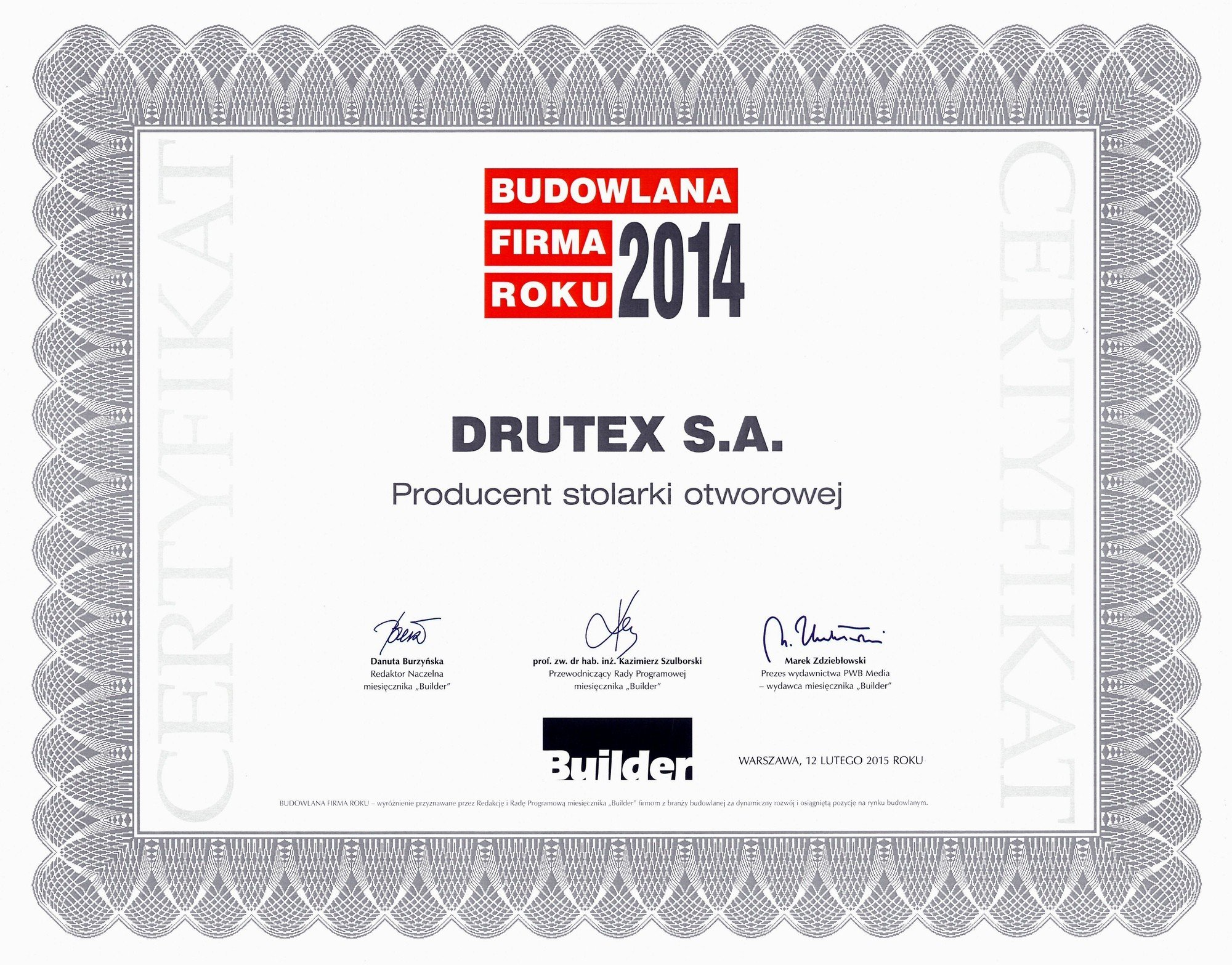 DRUTEX The Construction Company of the Year!